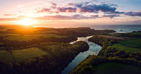 Aerial Drone image of Bosherston Lilyponds, Pembrokeshire