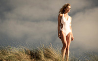 Abi Green swimwear shoot at Freshwater West