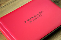 "Jonathan & Jess - Bellissimo 14x10"" with Genuine Leather Cover in Red to match their theme"