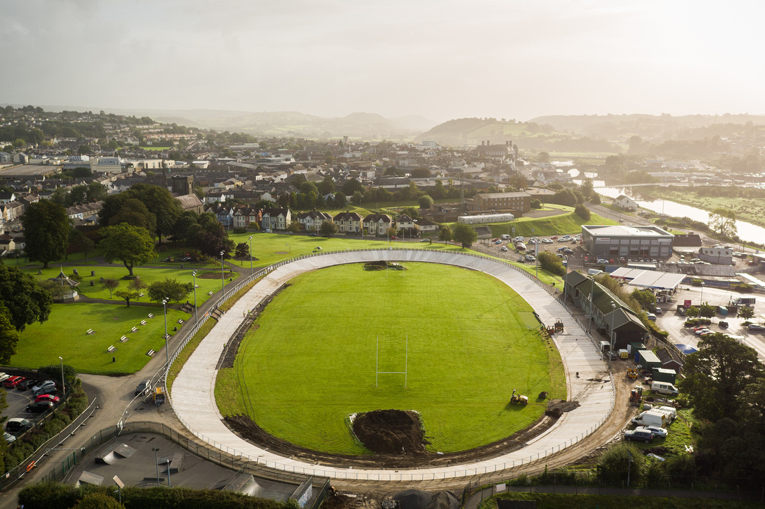 Aerial drone image showing Carmarthen velodrome in progress