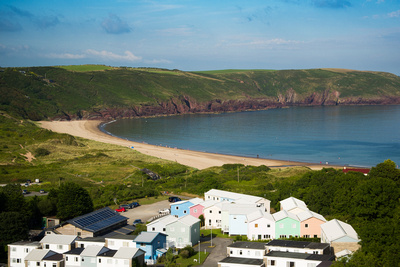 Aerial image showing proximity of holiday lets to the beach at Freshwater East